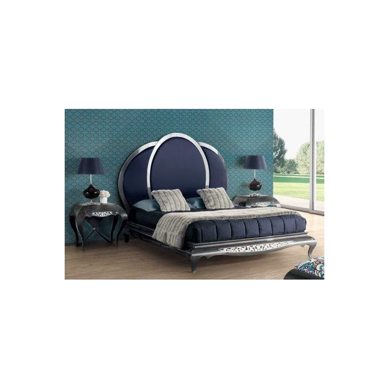lit et t te de lit de luxe bleue capitonn e 2 personnes eiffel. Black Bedroom Furniture Sets. Home Design Ideas