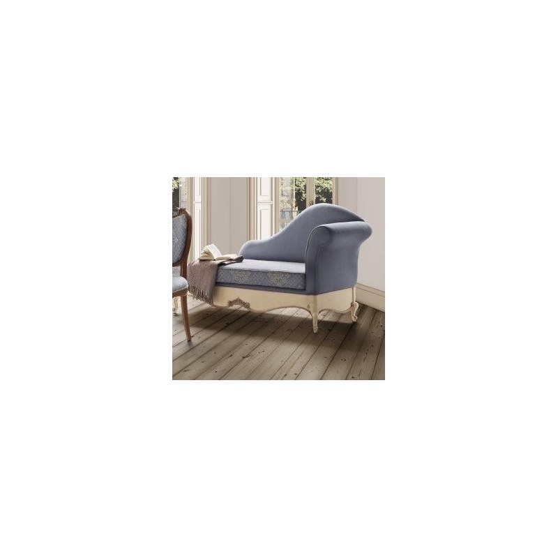 chaise longue de salon tissu bleu de luxe glamour. Black Bedroom Furniture Sets. Home Design Ideas