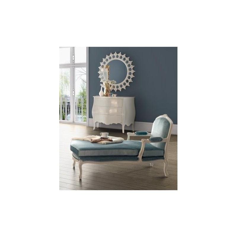 Chaise longue de salon tissu bleu milan for Chaise longue salon