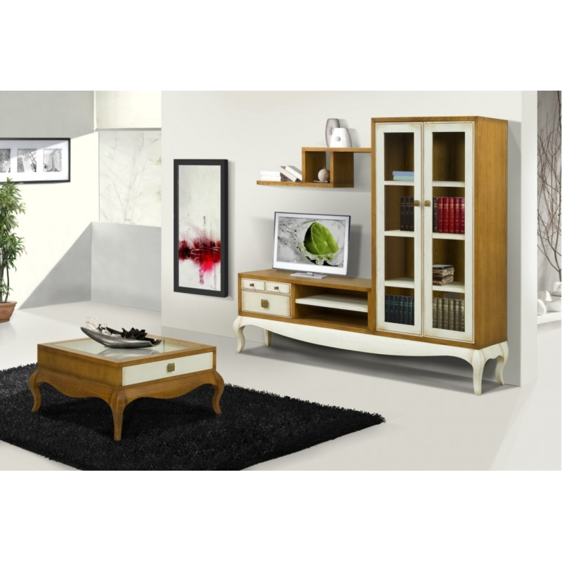 meuble tv antiquaire 2 portes vitr es ruben luang table basse. Black Bedroom Furniture Sets. Home Design Ideas