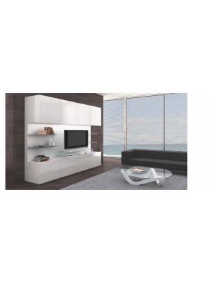 Meuble TV design 8 portes noir, blanc Mural  Table basse