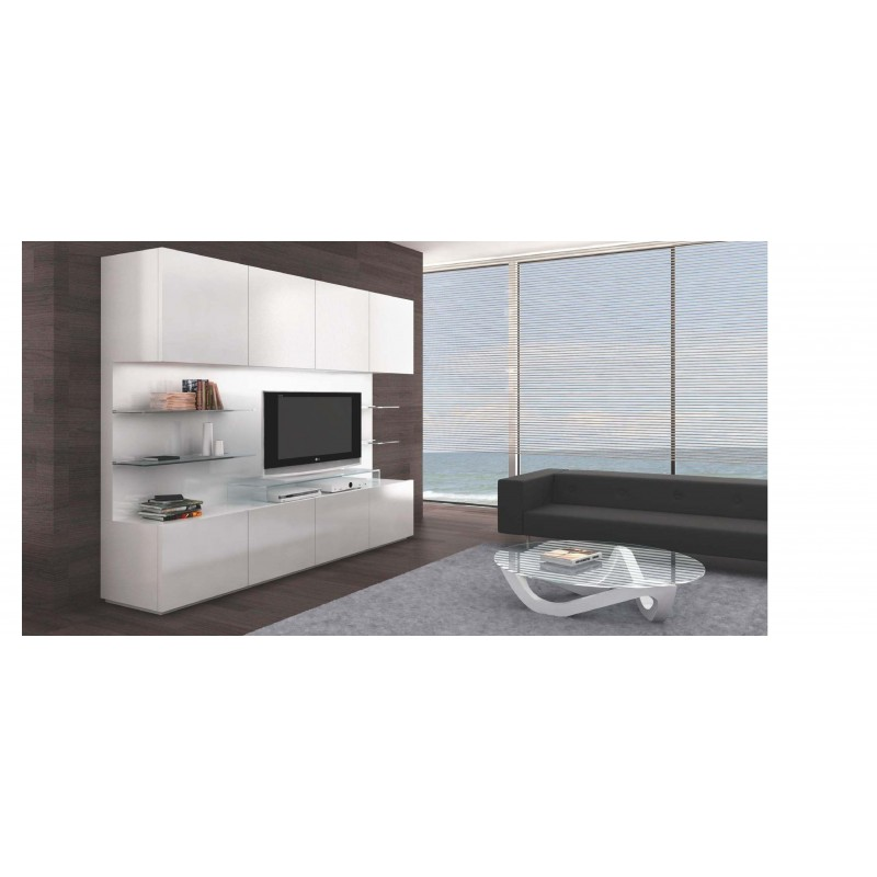 Meuble tv design 8 portes noir blanc mural table basse for Meuble mural laque brillant design