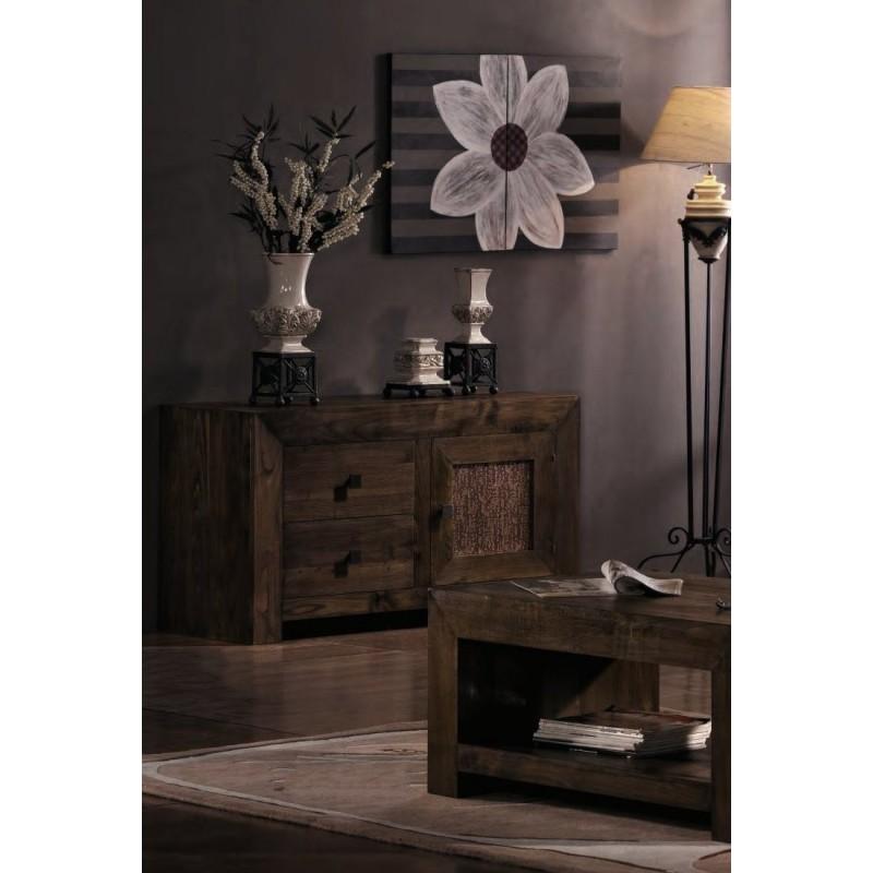 Meuble tv en ch ne 1 porte 2 tiroirs ariana for Antiquaire lille meuble