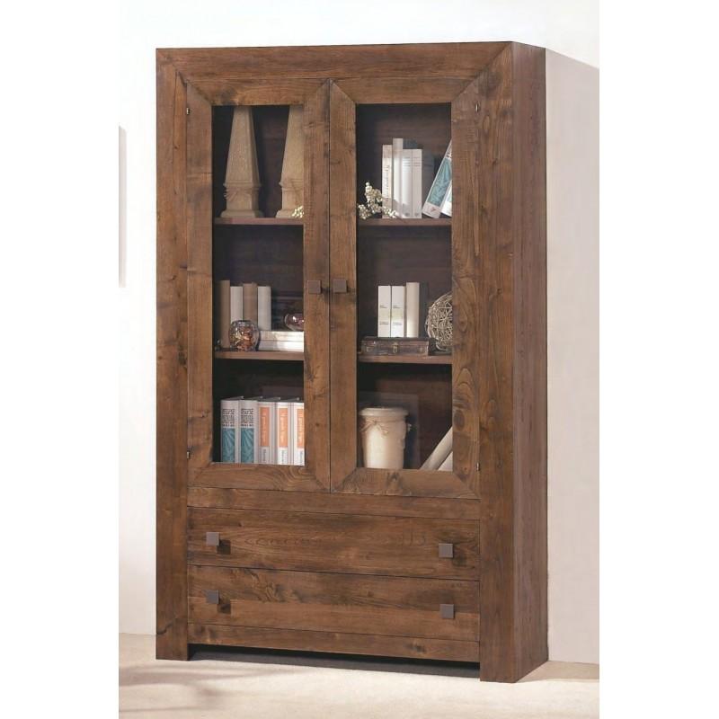 biblioth que rustique en ch ne 2 portes 2 tiroirs ariana. Black Bedroom Furniture Sets. Home Design Ideas