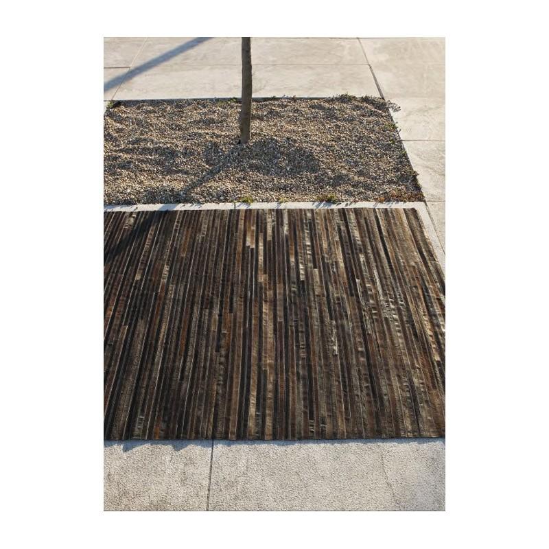 Lines tapis en peaux cuir couleur bois marron - Cuir au metre carre ...
