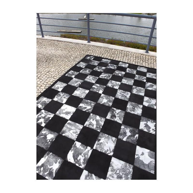Damier tapis patchwork en peaux cuir vache petits carr s - Cuir au metre carre ...