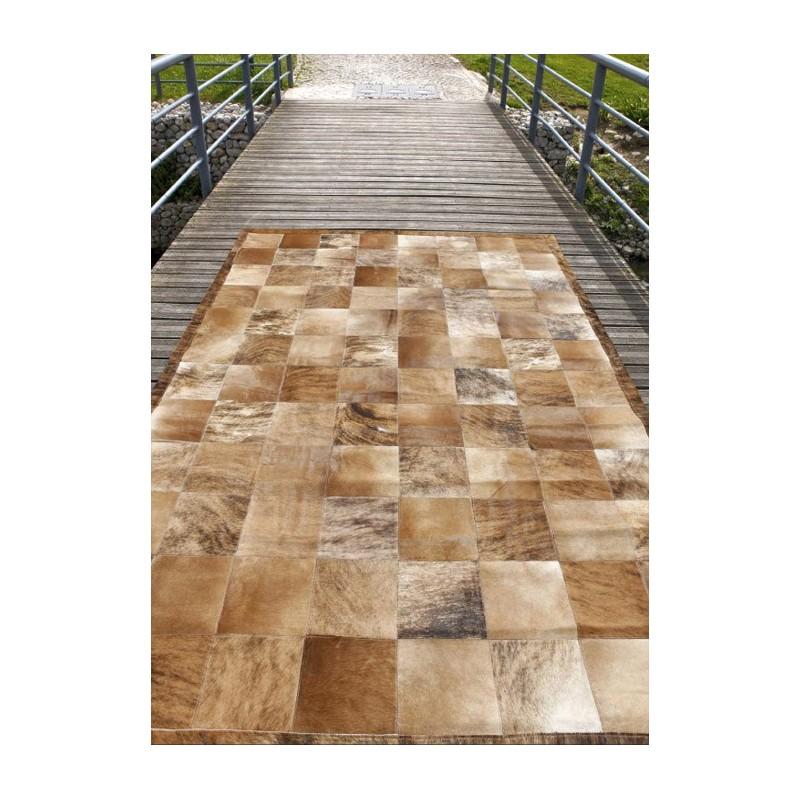 Matador tapis patchwork en peaux cuir marron beige - Tapis cuir patchwork ...