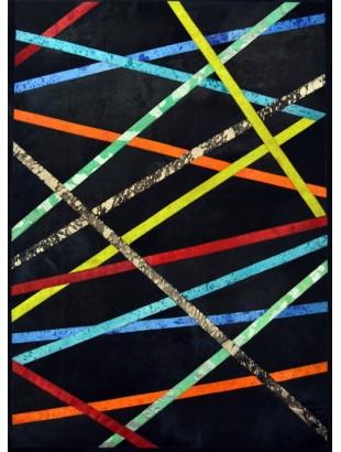 Mikado tapis en peaux cuir noir et multiples couleurs for Cuir au metre carre