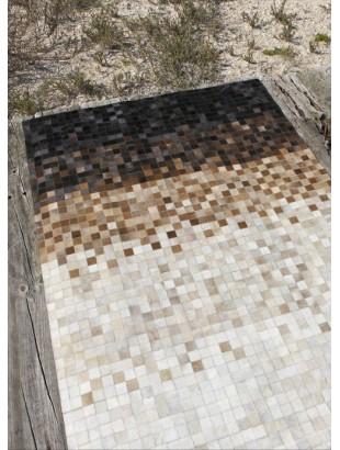 Mosaïque Edge Tapis en peaux cuir marron blanc noir