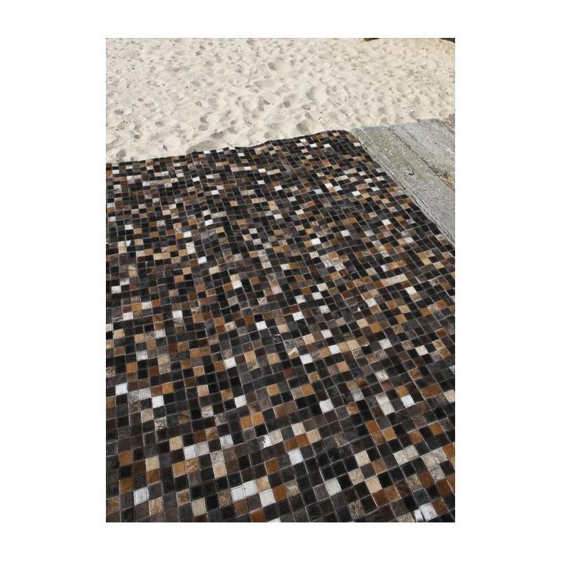 Mosa que multi tapis en peaux cuir noir marron blanc - Cuir au metre carre ...