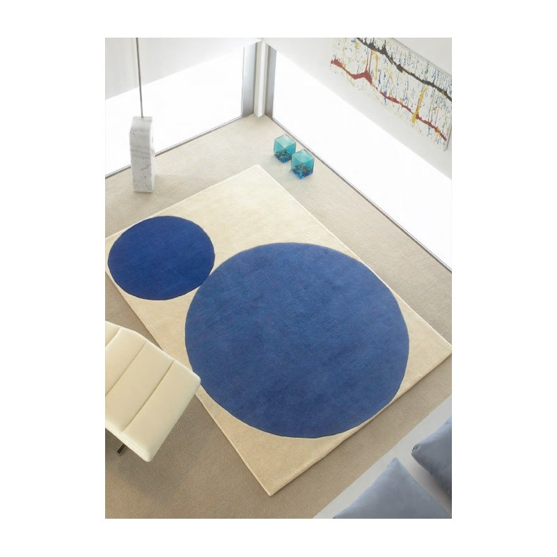 ellipse tapis en laine de mouton bleu ou jaune. Black Bedroom Furniture Sets. Home Design Ideas