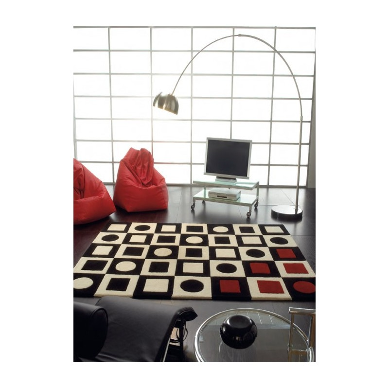 echiquier tapis en laine de mouton rouge et noir noir et blanc. Black Bedroom Furniture Sets. Home Design Ideas