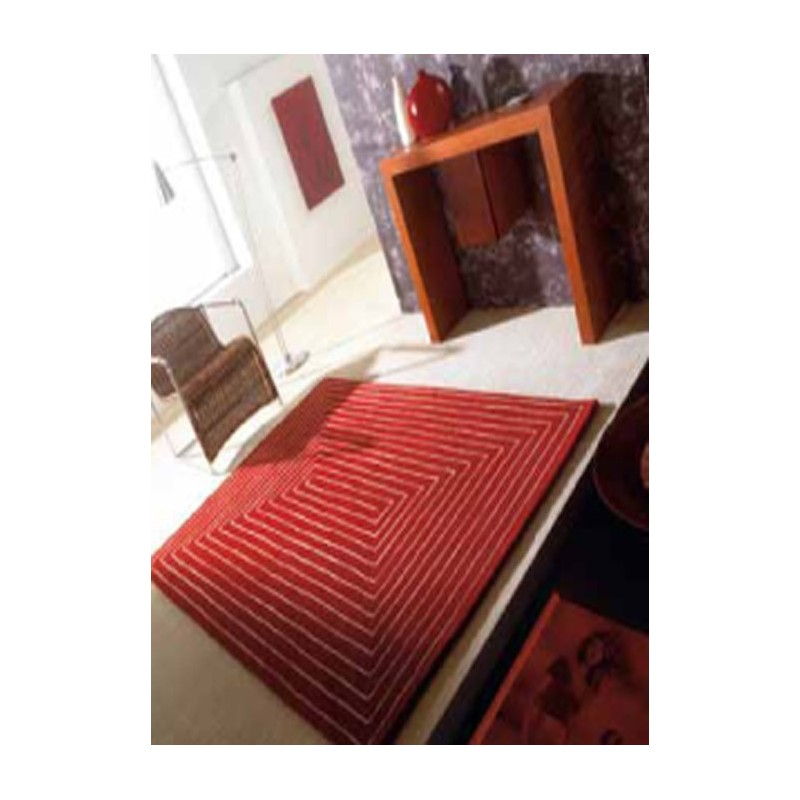 Chromatique Tapis en laine de mouton rouge marron ou beige