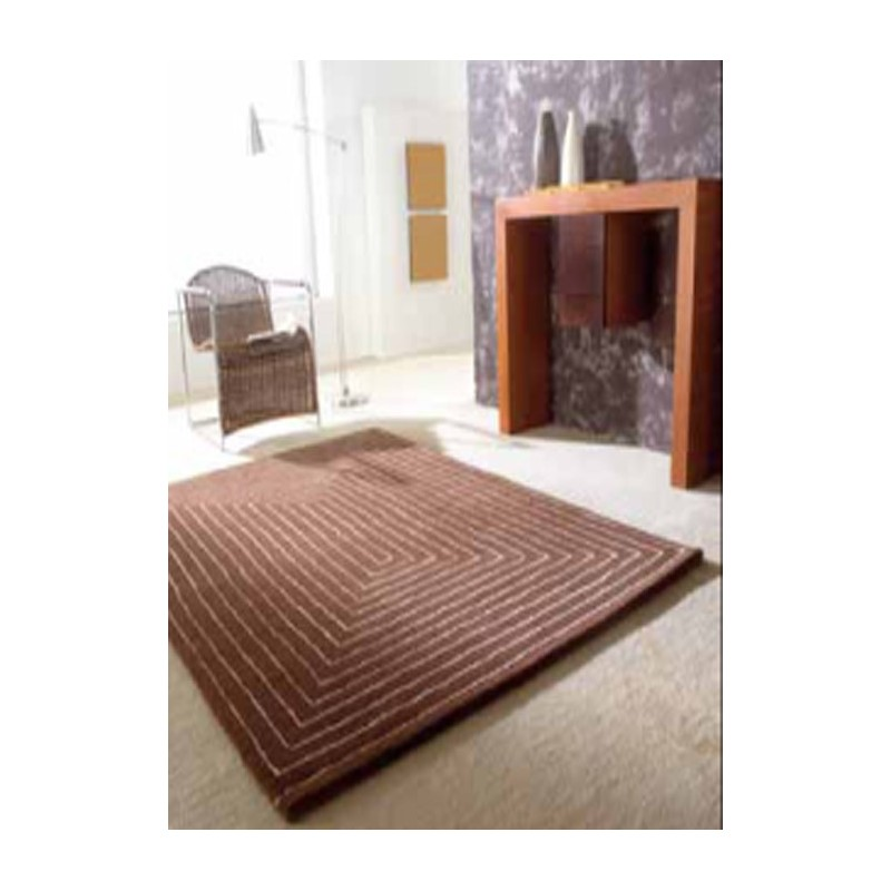 Chromatique Tapis en laine de mouton rouge marron ou beige