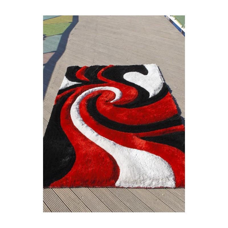 3d d mon tapis 3d 100 ployester synth tique rouge blanc et noir - Tapis rouge et blanc ...