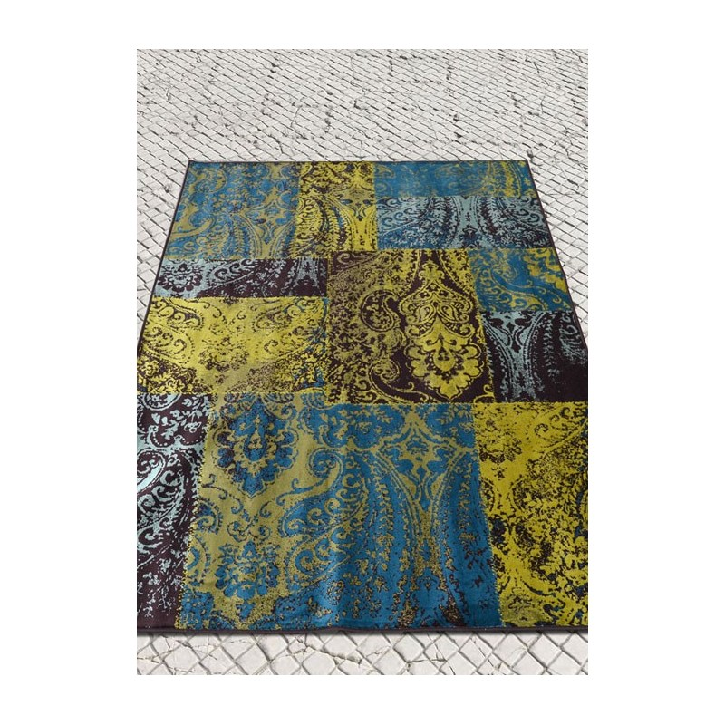 sauvage tapis vintage 100 viscose couleurs dominantes jaune bleu. Black Bedroom Furniture Sets. Home Design Ideas