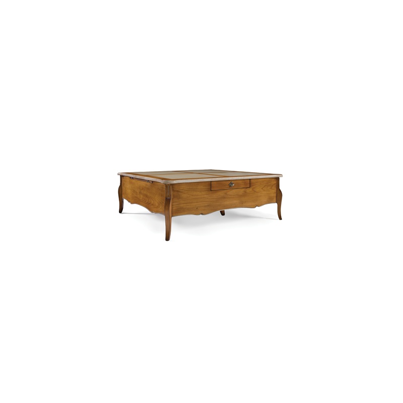 Table basse rustique carr e ou rectangulaire austrina - Table carree ou rectangulaire ...