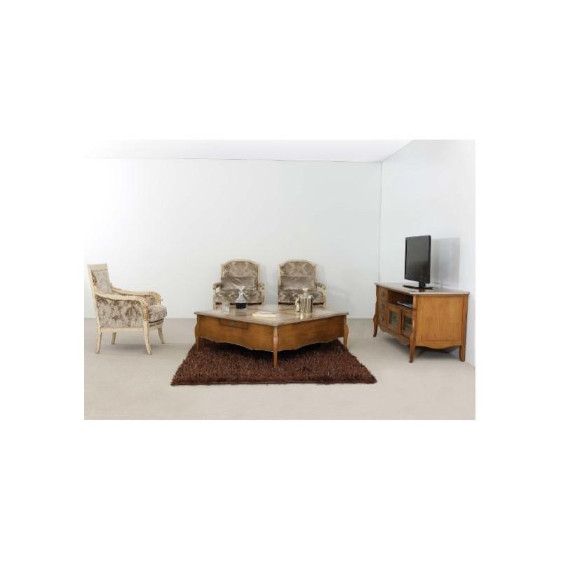 Table basse rustique carr e ou rectangulaire austrina - Table de salon rustique ...