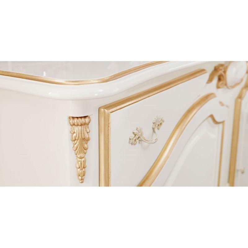 Salle manger de luxe ivoire glamour 1 buffet vaisselier et chaise - Salle a manger de luxe ...