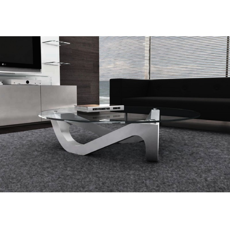 Table basse design ronde plateau en verre organic - Table salon en verre design ...