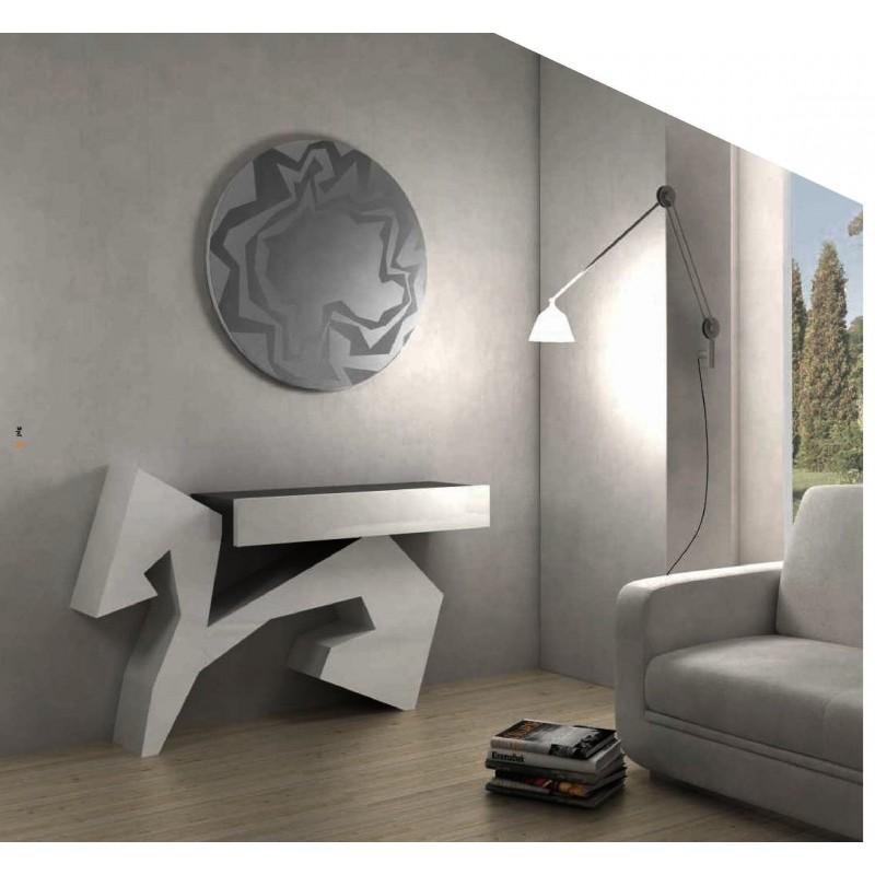 console design noire et blanche opale et miroir rond. Black Bedroom Furniture Sets. Home Design Ideas