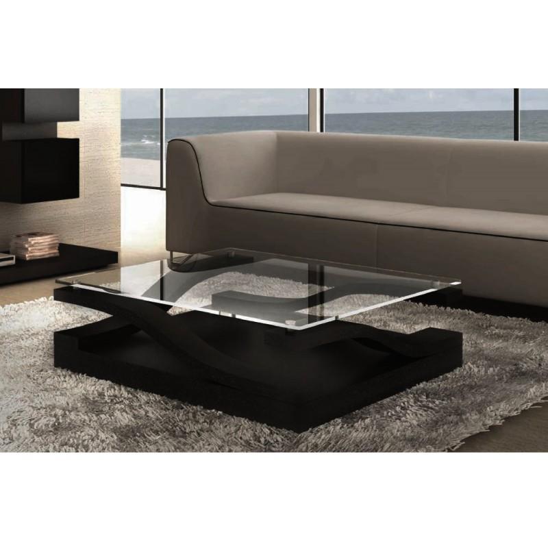 Table basse design carrée plateau en verre Saphir