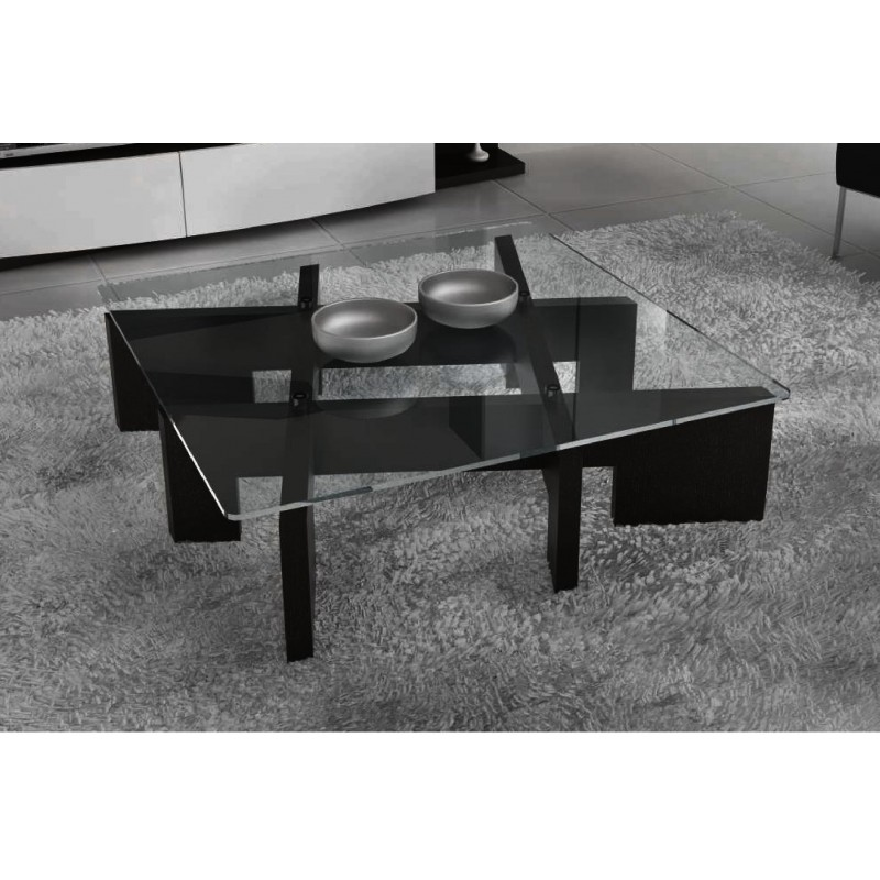 table basse design carr e plateau en verre kadris. Black Bedroom Furniture Sets. Home Design Ideas