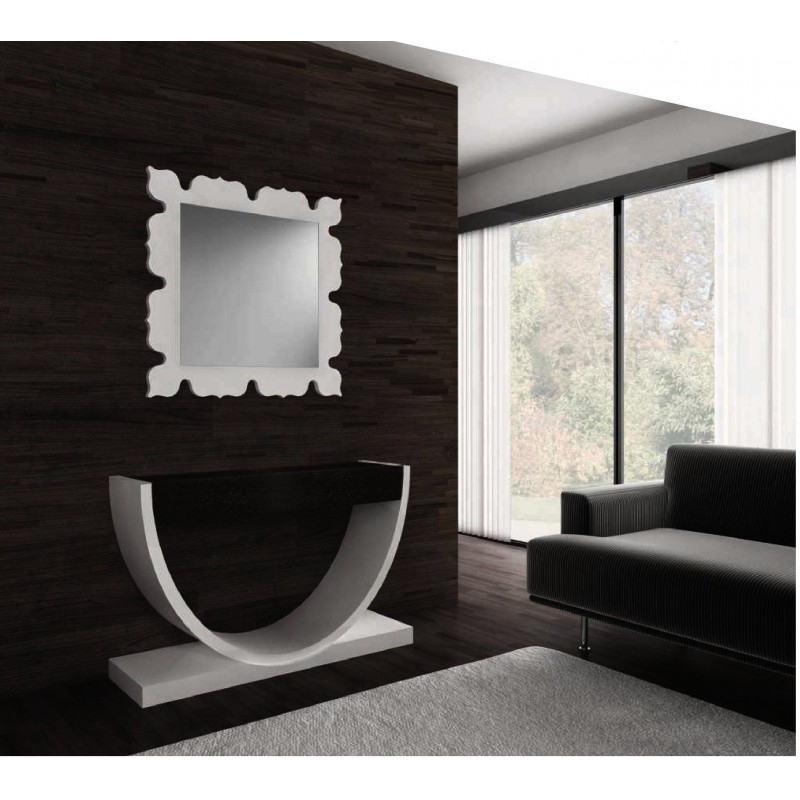 console design noire et blanche 1 tiroir et miroir carr klass. Black Bedroom Furniture Sets. Home Design Ideas