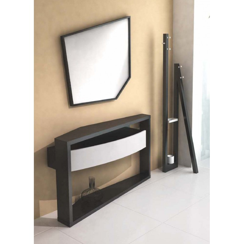 console design noire et blanche 1 tiroir et porte manteaux opium. Black Bedroom Furniture Sets. Home Design Ideas