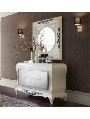 Commode baroque de luxe 2 ou 6 tiroirs or et argent et miroir for Commode design luxe
