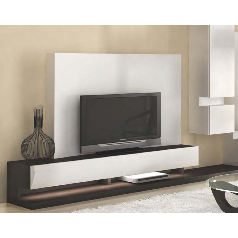 meuble tv design avec clairage led ivoire moka luz. Black Bedroom Furniture Sets. Home Design Ideas