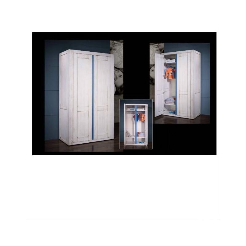 Chambre enfant lit armoire et chevet en ch taignier 2 for Chambre lit et armoire