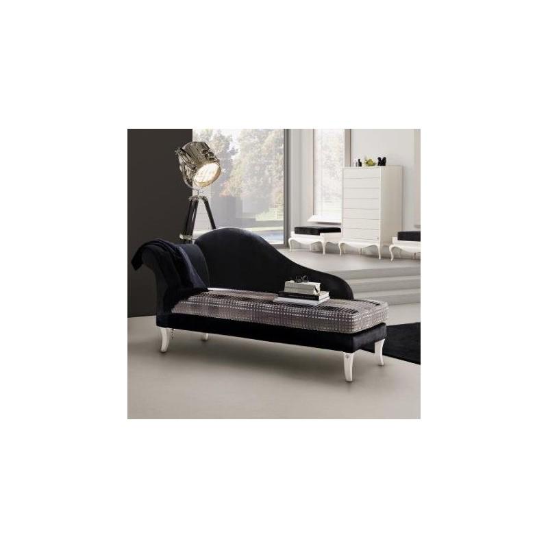 Chaise longue de salon tissu noire et blanche ou marron luxe - Chaise longue salon ...