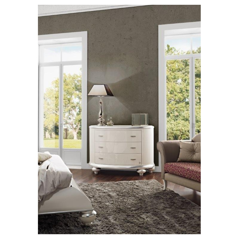 Commode baroque blanche 3 tiroirs de luxe for Commode design luxe