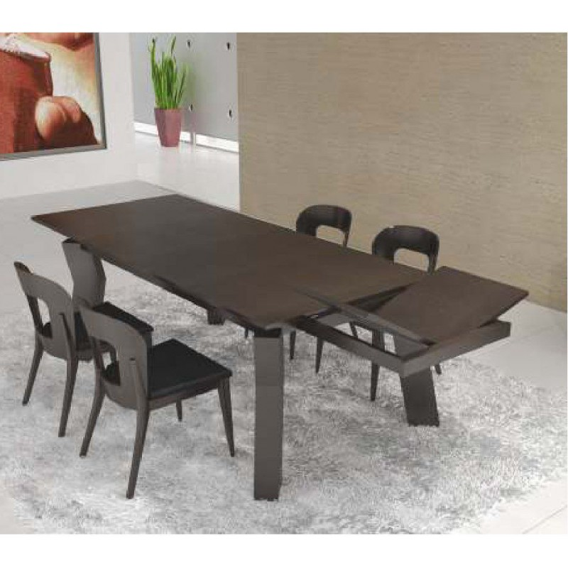 table de s jour design noire rectangulaire avec rallonge opium. Black Bedroom Furniture Sets. Home Design Ideas