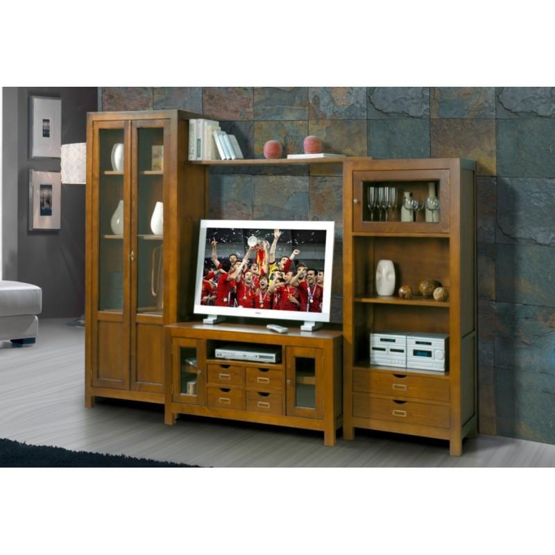 meuble tv antiquaire mural avec biblioth que xieng. Black Bedroom Furniture Sets. Home Design Ideas
