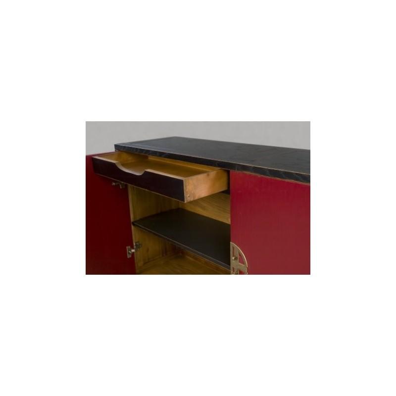 Buffet antiquaire 2 portes rouge et noir claudia for Meuble antiquaire
