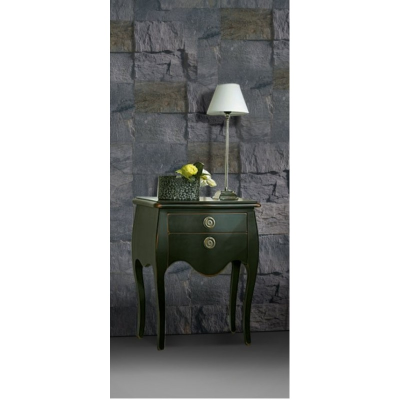 chevet antiquaire noir 2 tiroirs tonkin. Black Bedroom Furniture Sets. Home Design Ideas