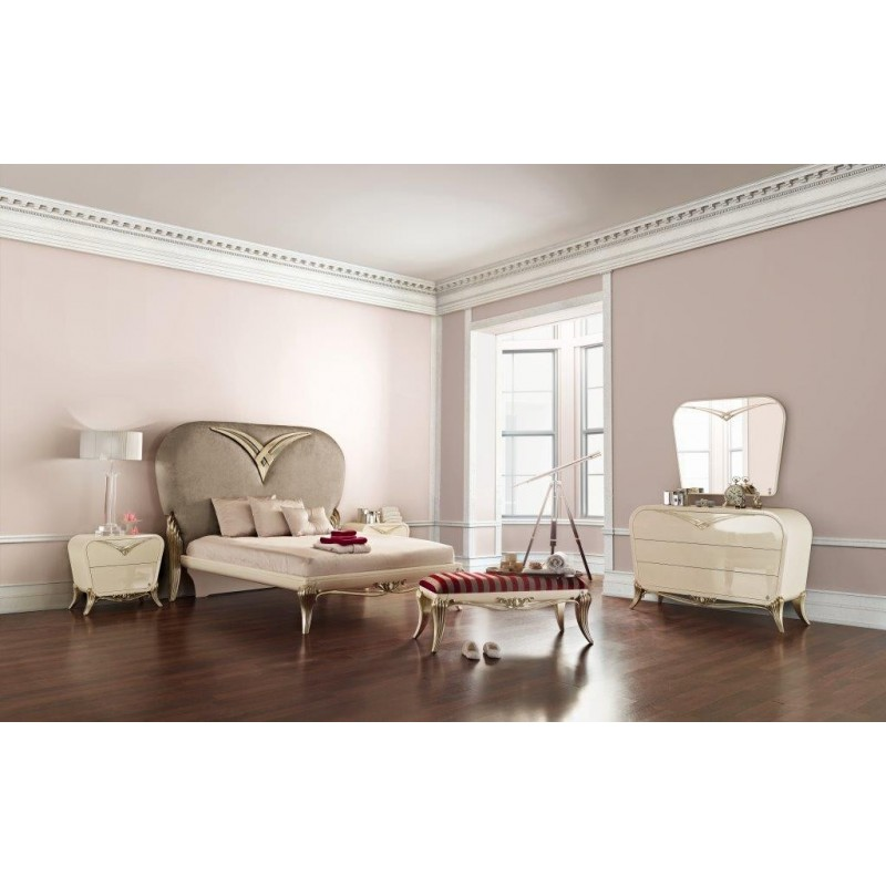 chambre adulte de luxe blanche argent 1900 commode baroque et miroir. Black Bedroom Furniture Sets. Home Design Ideas