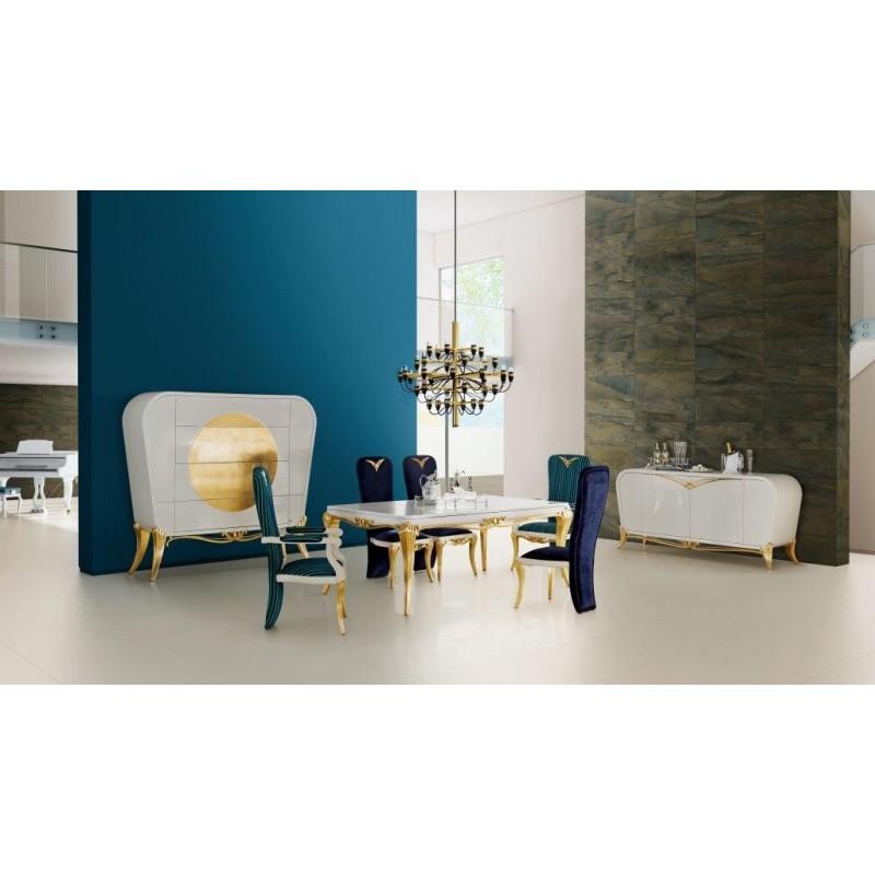 Salle manger de luxe blanche 1900 1 meuble bar r frig r for Salle a manger de luxe
