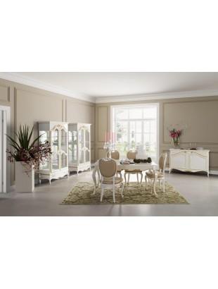 Salle manger de luxe blanche glamour vitrine 2 portes for Salle a manger de luxe