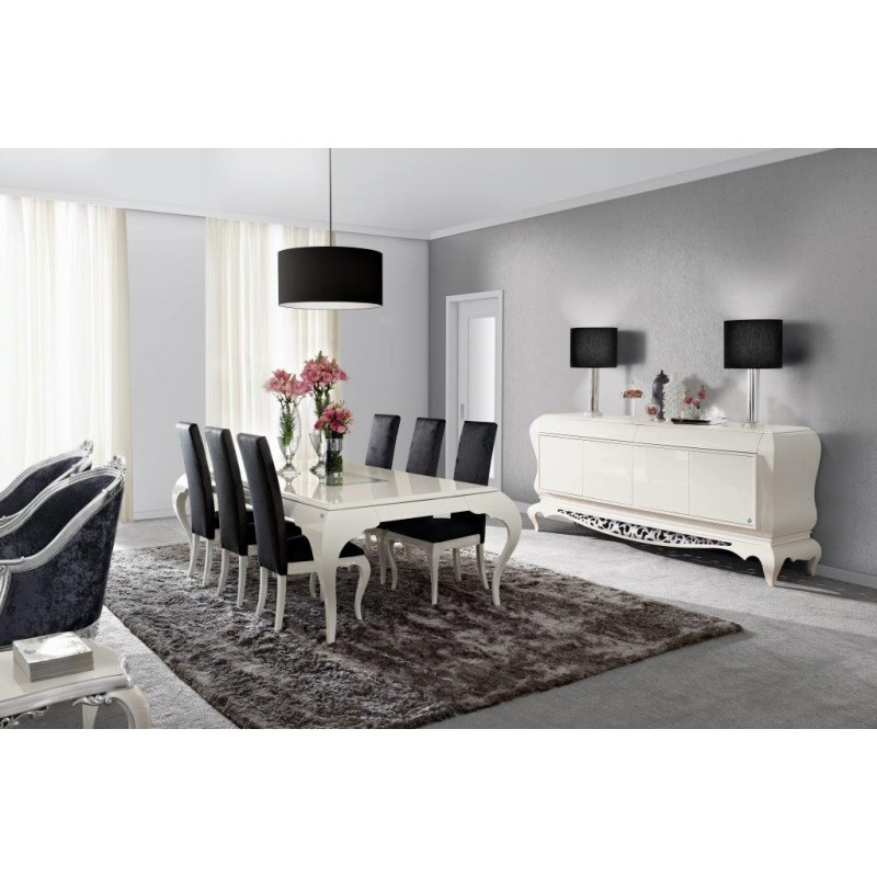 salle manger de luxe blanche argent eiffel et buffet. Black Bedroom Furniture Sets. Home Design Ideas