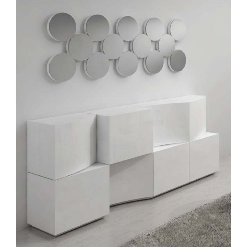 buffet design blanc ouverture porte push pull onix et miroir. Black Bedroom Furniture Sets. Home Design Ideas