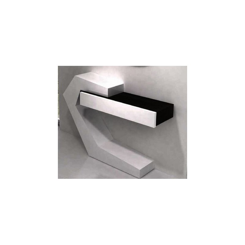 console design noire et blanche 1 tiroir fortis et miroir rond. Black Bedroom Furniture Sets. Home Design Ideas
