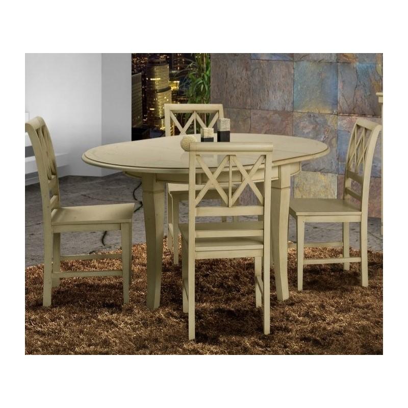 Table de s jour antiquaire ronde avec rallonge coloniale for Table de sejour ronde