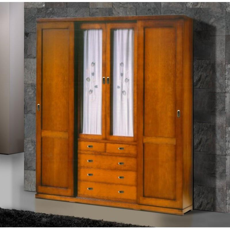 armoire antiquaire mon cay 4 portes dont 2 vitr es 5 tiroirs. Black Bedroom Furniture Sets. Home Design Ideas