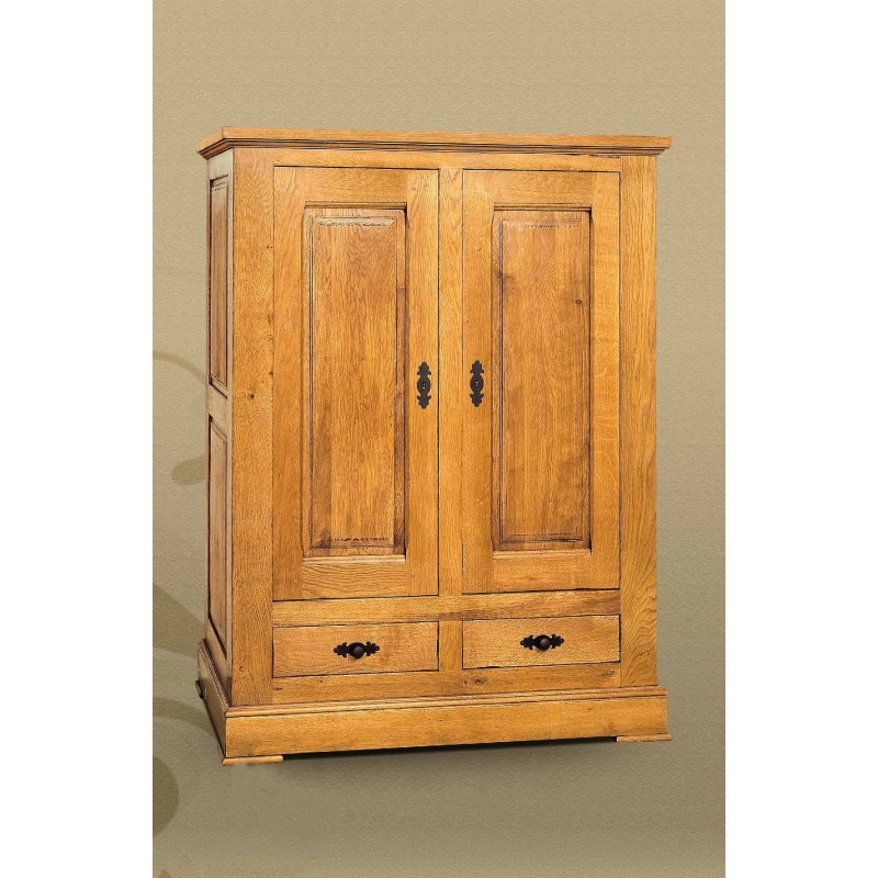 armoire emoryi 2 portes 2 tiroirs massif 100 ch ne de france. Black Bedroom Furniture Sets. Home Design Ideas