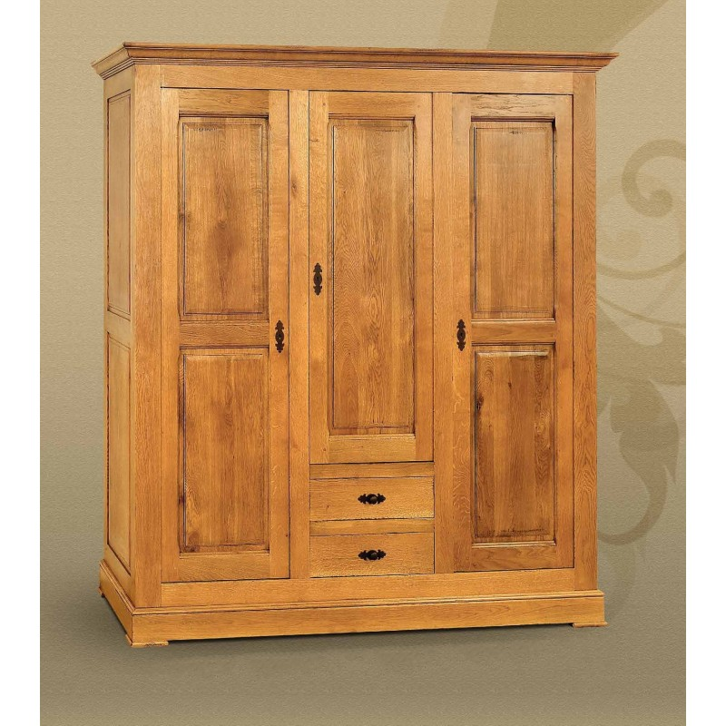 armoire dumosa en ch ne 3 portes 2 tiroirs. Black Bedroom Furniture Sets. Home Design Ideas