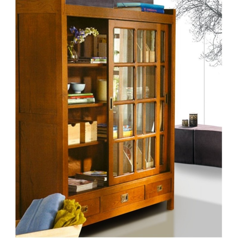 biblioth que antiquaire 2 portes vitr es coulissantes 3. Black Bedroom Furniture Sets. Home Design Ideas