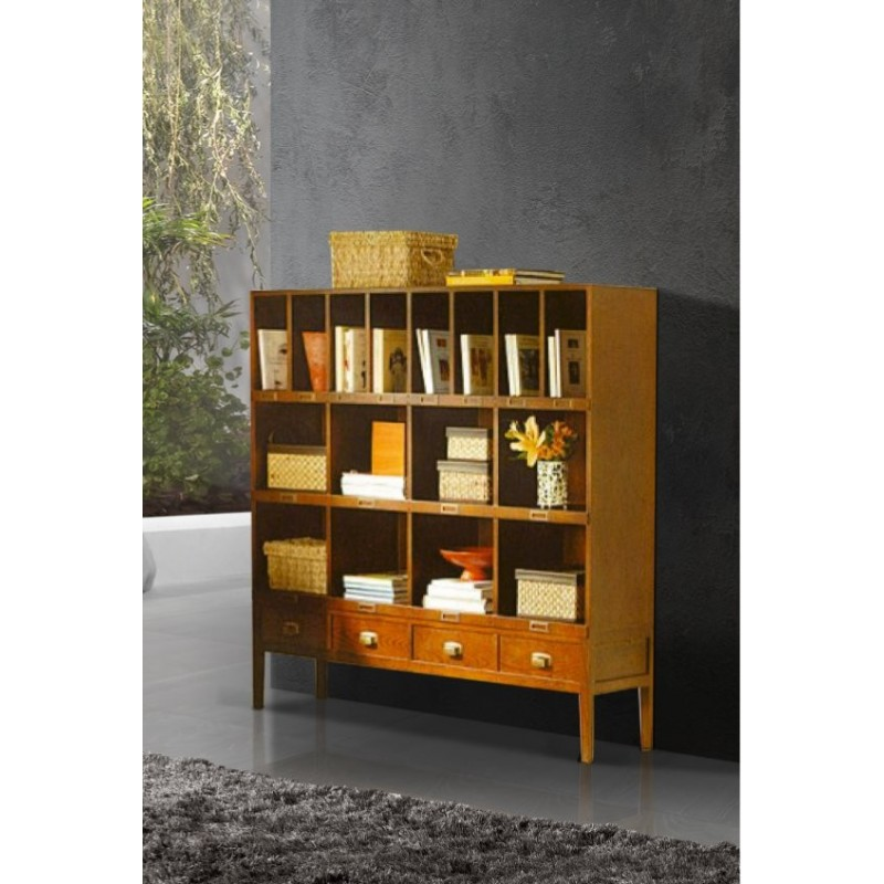 biblioth que antiquaire 8 casiers porte documents angkor. Black Bedroom Furniture Sets. Home Design Ideas